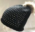 Navy Pom Pom Beanie with Sparkly Panel
