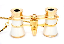 Opera Glasses- White  w/ Chain + Flashlight