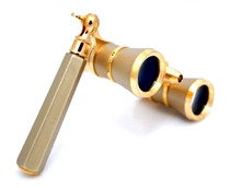 Opera Glasses-  Titanium / Gold  w/ Handle + Flashlight