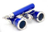 Opera Glasses w/ Lorgnette Handle - Blue & Silver
