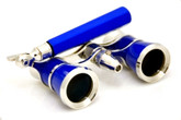 Opera Glasses w/ Lorgnette Handle & Reading Light - Blue & Silver