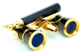 Opera Glasses w/ Lorgnette Handle & Reading Light - Black & Gold