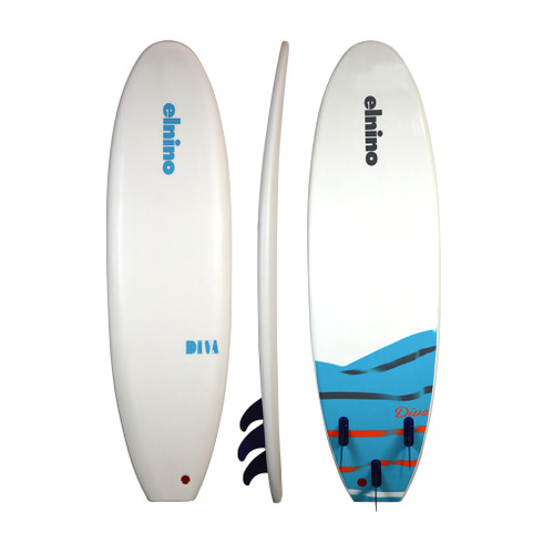 """2020 Elnino Diva - white deck and white slick with """"diva"""" pattern. With single swivel legrope and detachable triple fin system."""