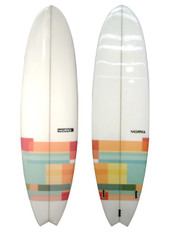 "VUDU 6'4 Fish Surfboard  Fibreglass Mid Length Surfboard  Thruster Fin Box Setup - Dual Tab Fin Box  Basic HDPE Fin Set Included with Board  High Gloss Finish  6'4 x 20"" 3/4 x 2"" 7/8  :  44L"