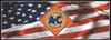 AC009-BAN  Allis Chalmers Diamond Logo on US Flag Banner