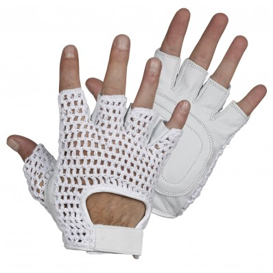 PALM IS LEATHER  BACK IS MESH  SIZE EXTRA EXTRA LARGE BLACK FINGERLESS GLOVES