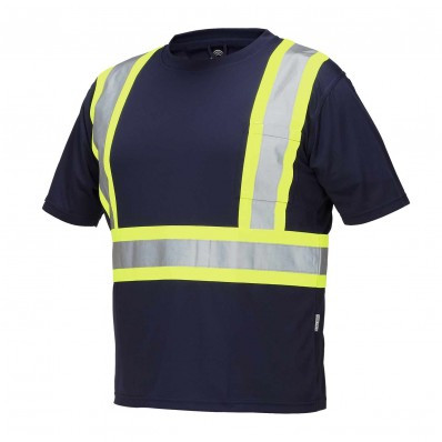 Navy Hi-Vis CSA Crew Neck Short Sleeve Tee | Safetyapparel.ca
