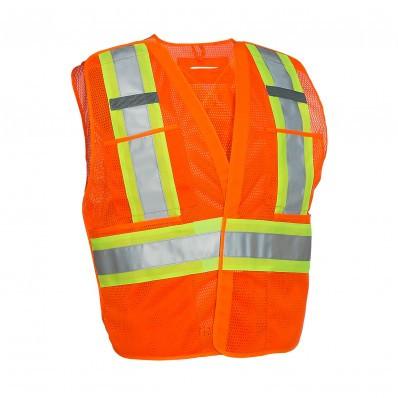 Orange Hi-Vis 5-Point Tear-Away Vest | Safetyapparel.ca