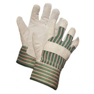 Ladies' Split Leather Striped Back Gloves With Rubberized Cuffs | Safetyapparel.ca