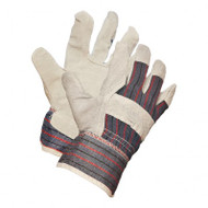 Split Leather Striped Back Gloves With PE Coated Safety Cuffs | Safetyapparel.ca