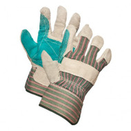 Split Leather Double Patch Palm Gloves (Green) | Safetyapparel.ca