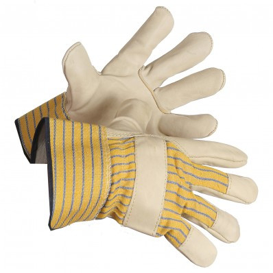 Grain Cowhide Leather Gloves With Safety Cuffs | Safetyapparel.ca