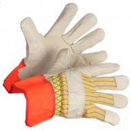 Hi-Vis Grain Cowhide Leather Gloves With Fluorescent Rubberized Cuffs | Safetyapparel.ca