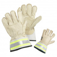 Hi-Vis Grain Cowhide Leather Thinsulate Lined Gauntlet With 4-Inch Reflective Tape Cuffs | Safetyapparel.ca