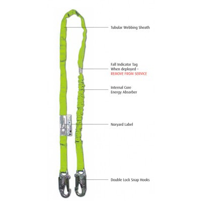 6FT Internal Shock Absorbing Lanyard With Double Leg & Snap Hooks Ends   Safetyapparel.ca