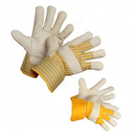 Jack Hammer Cowhide Leather Gloves With Striped Back & PE Safety Cuffs | Safetyapparel.ca