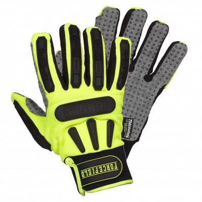 Hi-Vis Ruffneck Mechanics Gloves With PVC Dots | Safetyapparel.ca