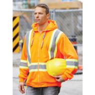 Orange Hi-Vis Full Zip Polyester Hooded | Safetyapparel.ca