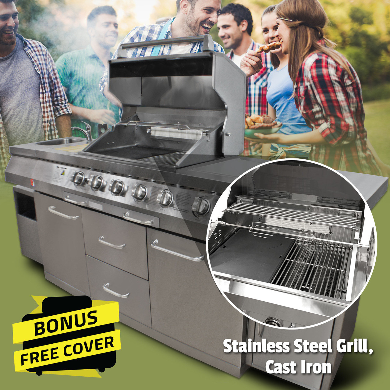 Bull Bbq Stainless Steel Outdoor Long Grill Kitchen Bigger Boyz Toyz