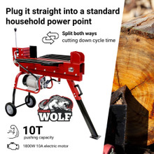 Timberwolf 10T Electric Wood Log Splitter Dual Action