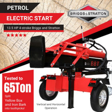 BBT Wood Log Timber Splitter 40/65 Vertical Horizontal B&S Electric Start