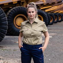 Shirt Extended Short Sleeve 'Land Roamer' (Khaki) - Women's Workwear