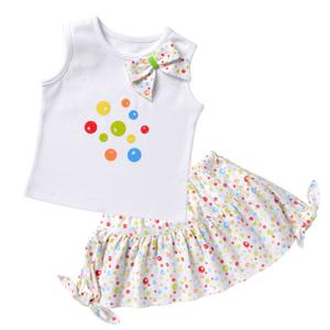 Flounce Skirt & Tee Set - Soap Bubbles
