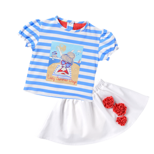 Screen Tee & White Skirt Seaside Holiday