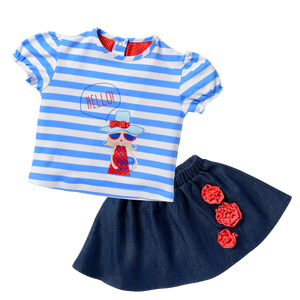 Screen Tee Indigo Skirt Set - Seaside Holiday