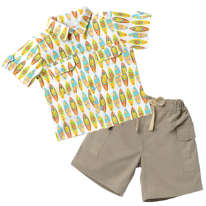 Pocket Shirt & Short Set - Surfin Away