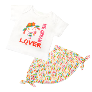 Flounce Skirt & Tee Set - Cream Cicles