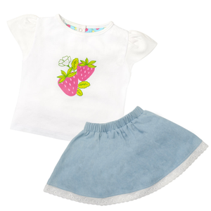 Ruffle Skirt & Print Tee Set - Strawberry Fields