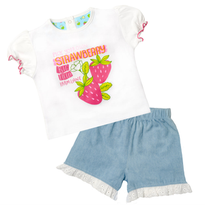 Ruffle Shorts & Print Tee Set - Strawberry Fields
