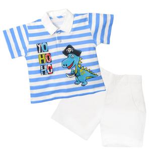 Striped Polo Tee & Short Set - Treasure Island