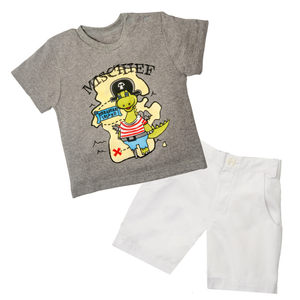 Grey Heather Tee & Short Set - Treasure Island