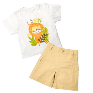 Lion Print Tee & Short Set - Rumble In The Jungle