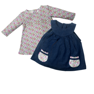 Smock Dress Set - Cool Blooms