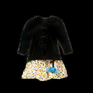 Print Balloon Skirt & Velvet Jacket Set - Sweets Galore