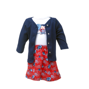 Cardigan Set & Print Skirt - Festive Joy