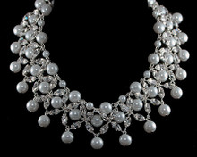 Glamorous White Pearl and Crystal Necklace