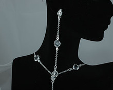Clear Crystal and Silver Chanel Earring