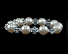 Ivory Rose Pearl and Clear Crystal Bracelet