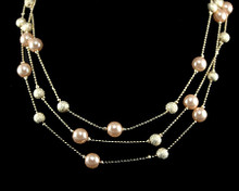 Triple Row Champagne Gold Pearl and Gold Bead Necklace (brown)