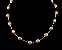 Single Row of Gold Color Pearls on Gold Necklace (brown)