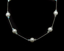 Bright White Pearl and Small Crystal Necklace on Silver