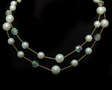 Double Row Cream Pearls with Crystal Bead Necklace on Gold (Ivor