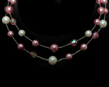 Double Row Pink/White Pearls with Pink Crystal Bead Necklace on