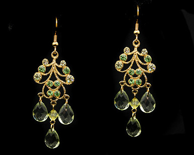 Green Crystal jewelry necklace earring set Bridesmaids /Bridesmaid Jewelry