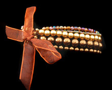 Multi-Strand Bronze and Gold Pearl Bracelet with Ribbon (Brown)