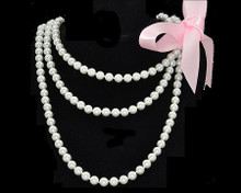"Fun/Flirty White Pearl 60"" Necklace with Ribbon"